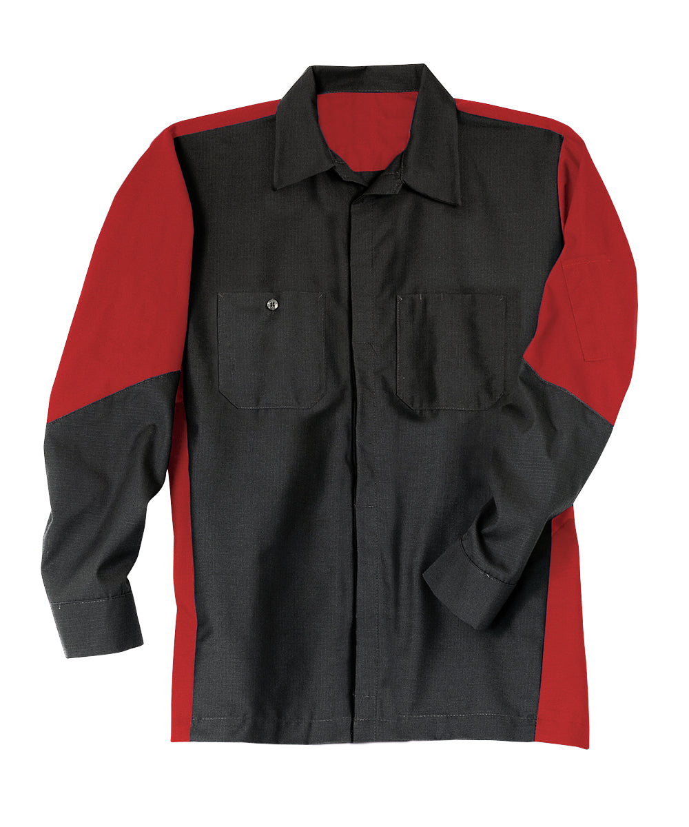 Black/Red Ripstop Crew Shirts Shown in UniFirst Uniform Rental Service Catalog