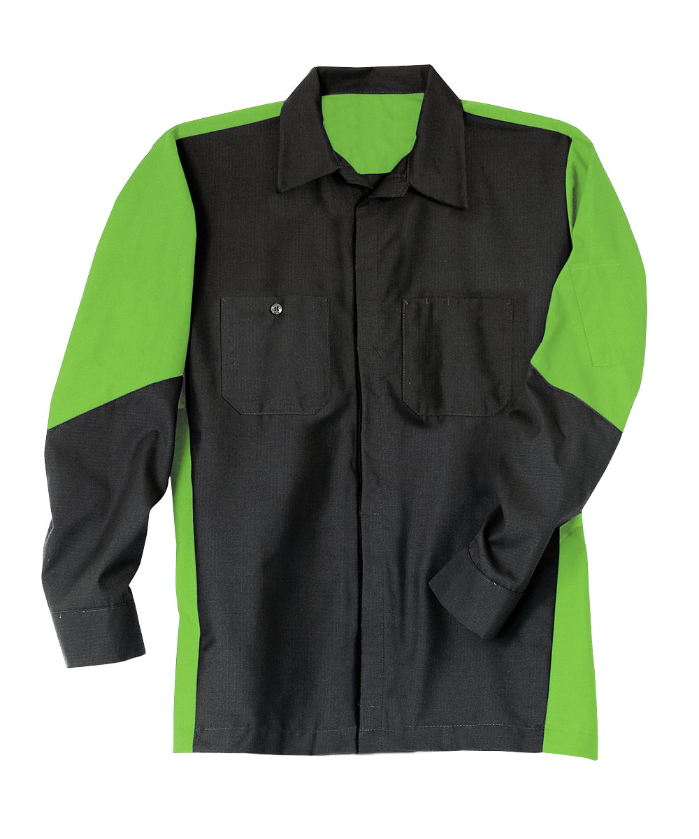 Black/Lime Ripstop Crew Shirts Shown in UniFirst Uniform Rental Service Catalog