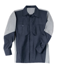 Navy/Grey Ripstop Crew Shirts Shown in UniFirst Uniform Rental Service Catalog