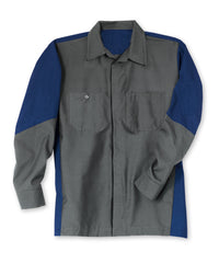 Charcoal/Royal Ripstop Crew Shirts Shown in UniFirst Uniform Rental Service Catalog