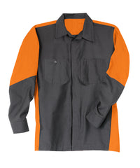 Charcoal/Orange Ripstop Crew Shirts Shown in UniFirst Uniform Rental Service Catalog