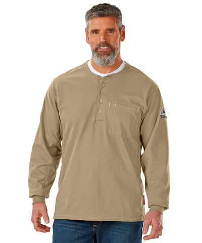 Bulwark® FR iQ Series® Comfort Plus Flame Resistant Knit Henley (Khaki) as shown in the UniFirst Uniform Rental Catalog.