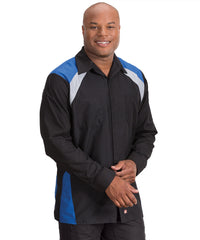 Black/Royal Blue Tri-Color Ripstop Motor Sport Shirt Shown in UniFirst Uniform Rental Service Catalog