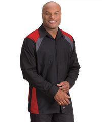 Black/Red/Charcoal Tri-Color Ripstop Motor Sport Shirt Shown in UniFirst Uniform Rental Service Catalog