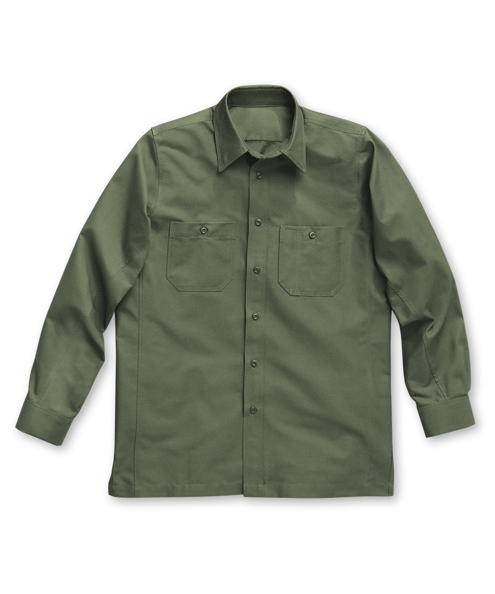 Olive Wrangler Workwear™ Canvas Work Shirts Shown in UniFirst Uniform Rental Service Catalog