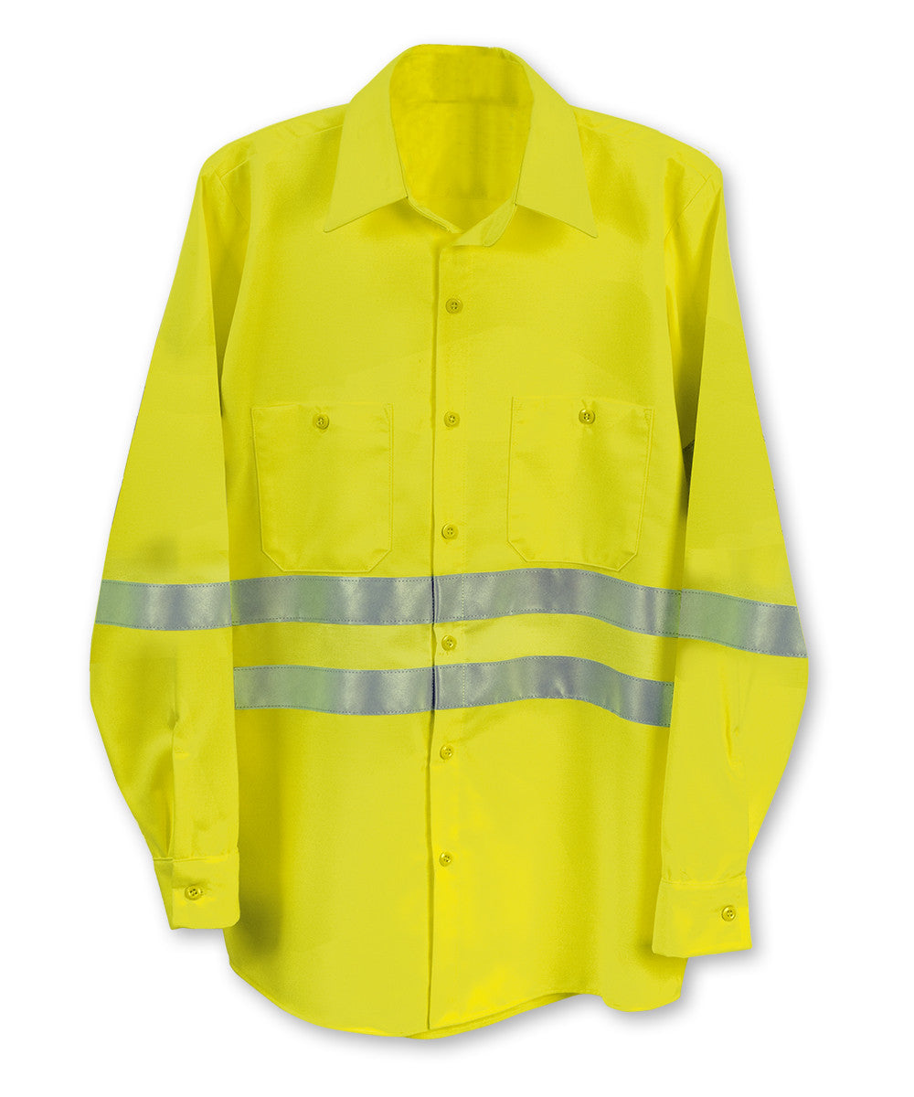 Fluorescent Yellow ANSI Class 2 High Visibility UniWeave® Work Shirts Shown in UniFirst Uniform Rental Service Catalog