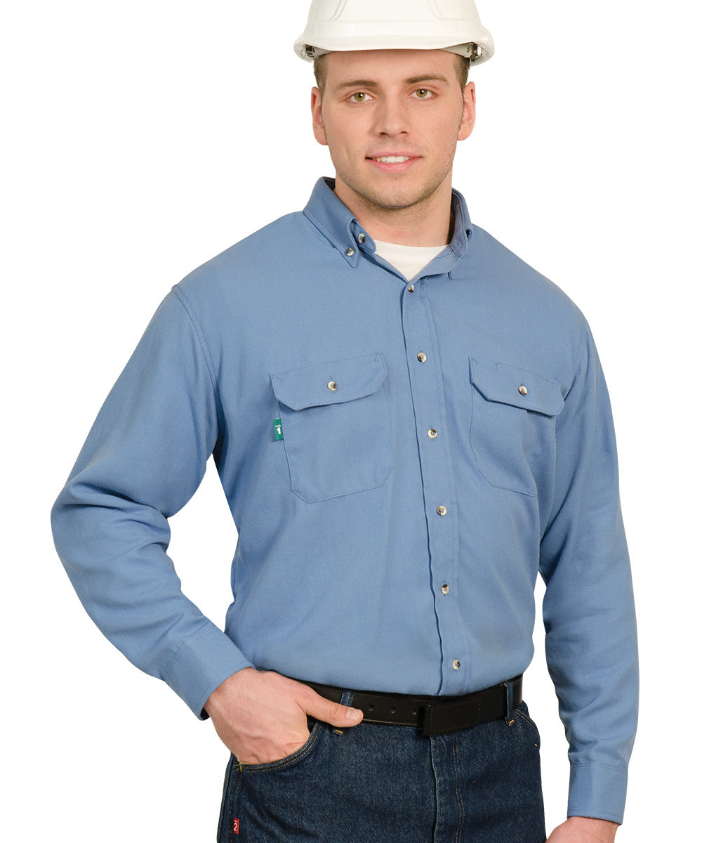 Lightweight Blue Armorex® COOL Arc Rated Flame Resistant Work Uniform Shirts Shown in UniFirst Uniform Rental Service Catalog