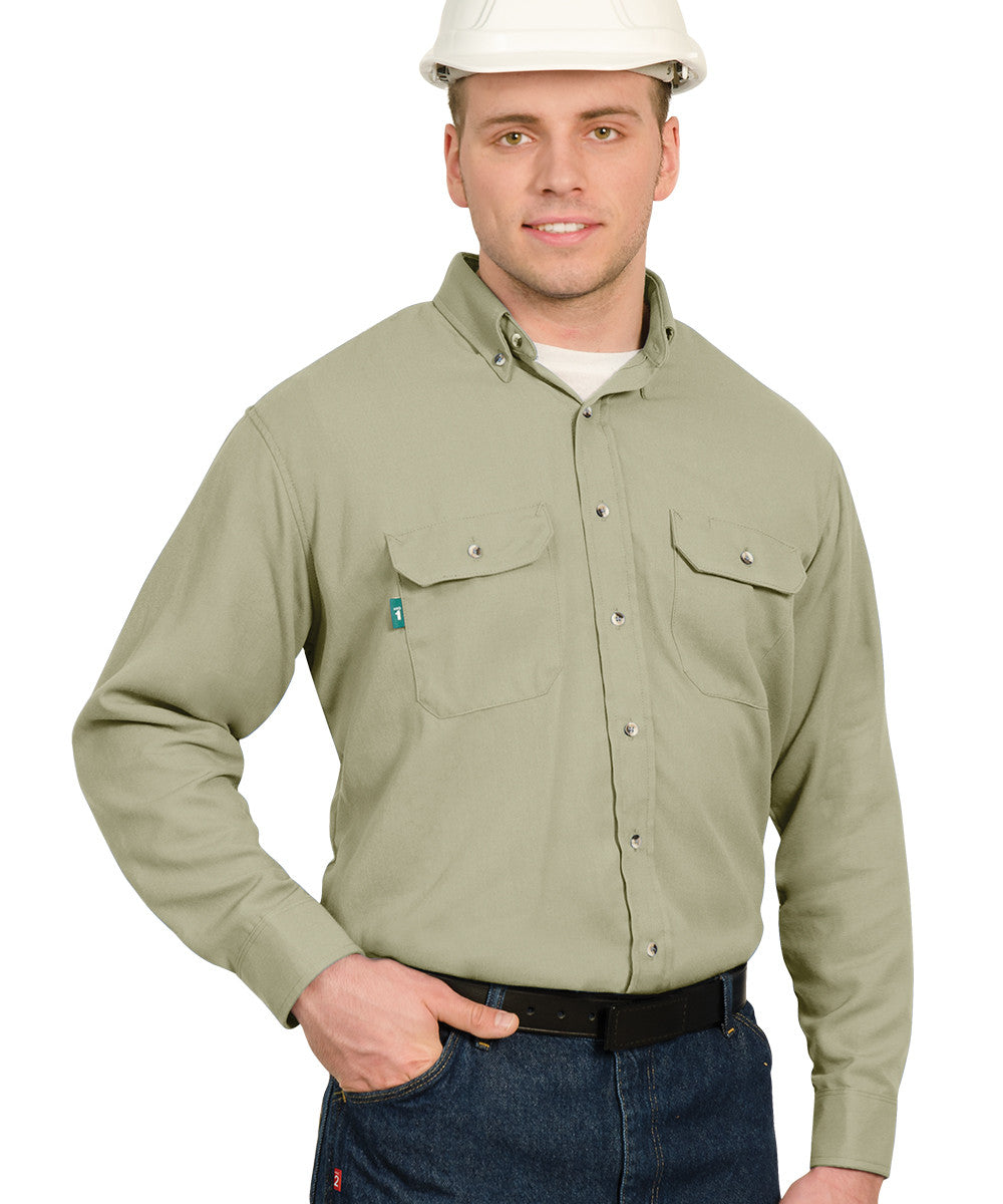 Khaki Armorex® COOL Arc Rated Flame Resistant Work Shirts Shown in UniFirst Uniform Rental Service Catalog