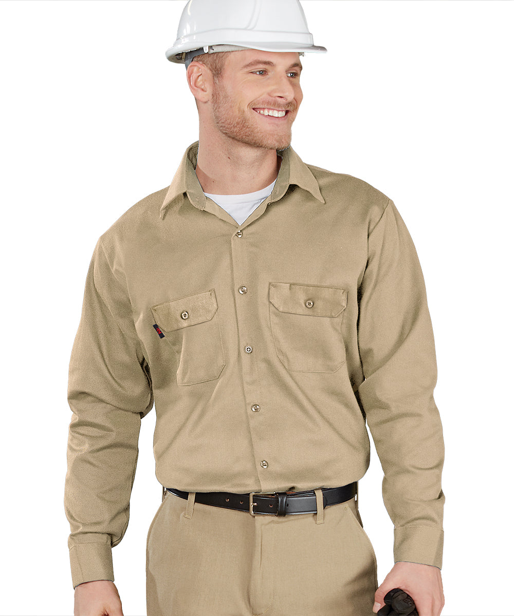 Armorex FR® Arc Rated Flame Resistant Work Shirts (Khaki) Shown in UniFirst Uniform Rental Service Catalog