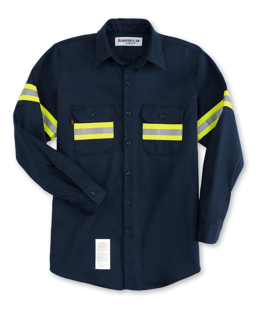 Navy Blue Armorex FR® Work Shirts with Reflective Striping Shown in UniFirst Uniform Rental Service Catalog