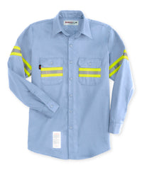 Armorex FR® Flame Resistant Work Shirts with Yellow Reflective Striping in Lt. Blue as shown in the UniFirst UniForm Rental Catalog