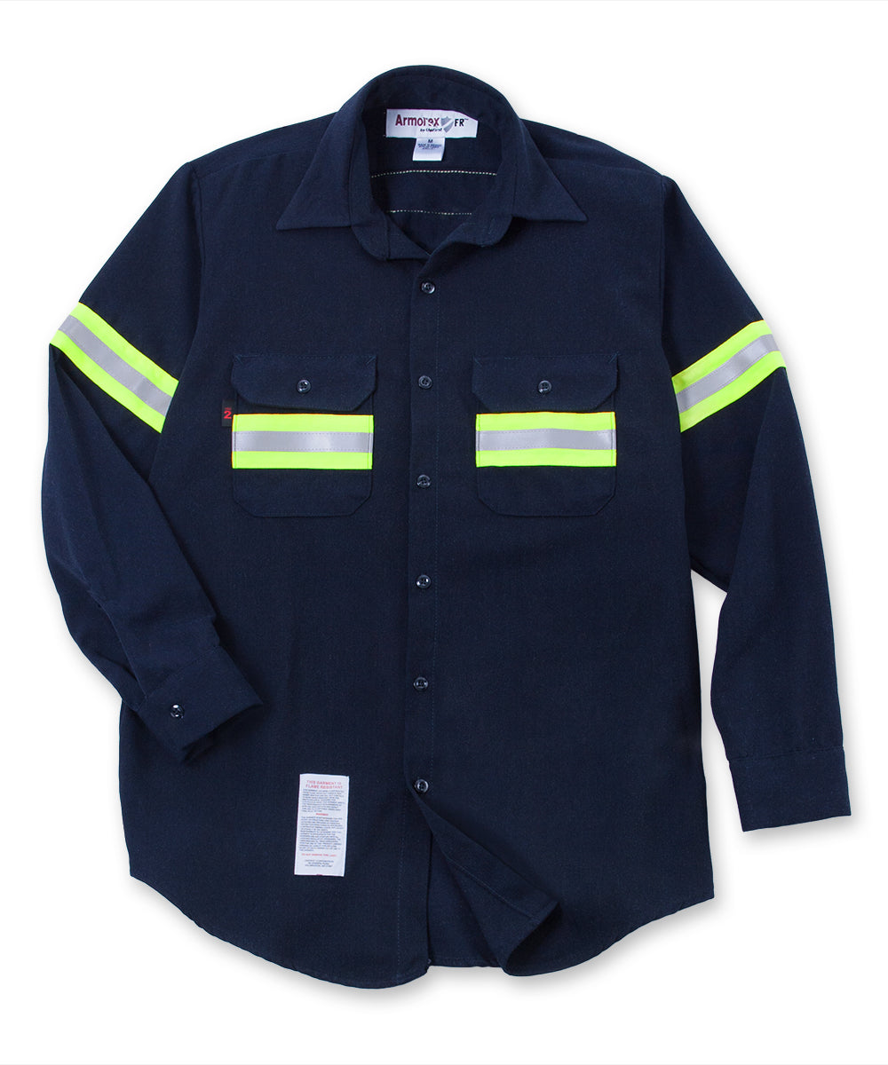 Armorex FR® Flame Resistant Enhanced Visibility Work Shirts (Navy) as shown in the UniFirst Uniform Rental Catalog.