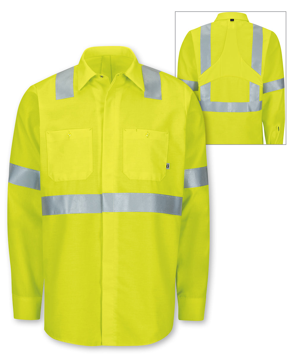 ANSI Class 2 MIMIX™ High Visibility Ripstop Work Shirts (Fluorescent Yellow) as shown in the UniFirst Rental Catalog.