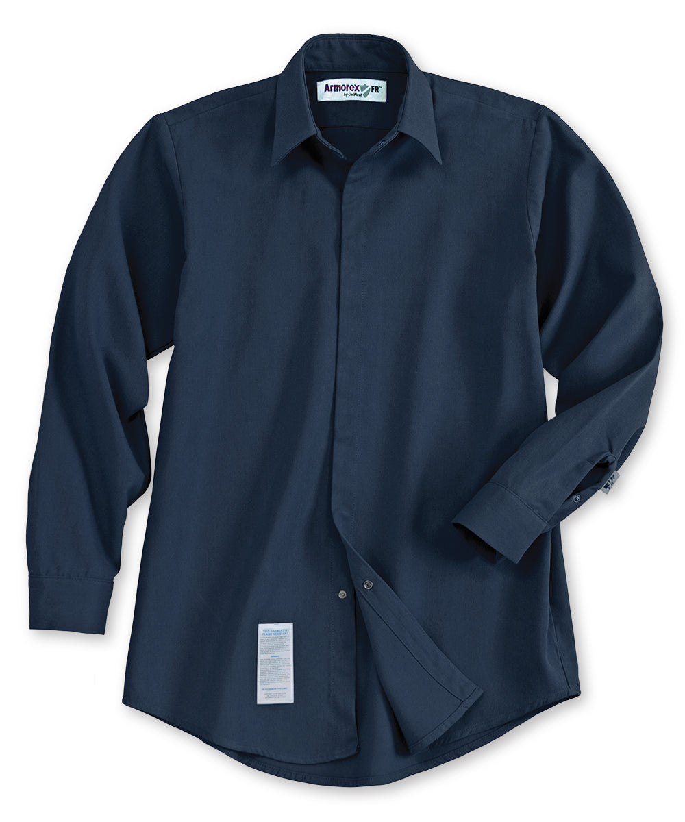 Armorex® COOL Flame Resistant Food Processing Shirts (Navy) as shown in the UniFirst Uniforms Rental Catalog.