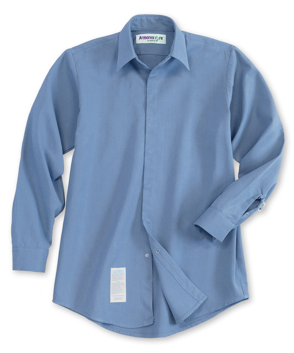 Armorex® COOL Flame Resistant Food Processing Shirts (Light Blue) as shown in the UniFirst Uniforms Rental Catalog.