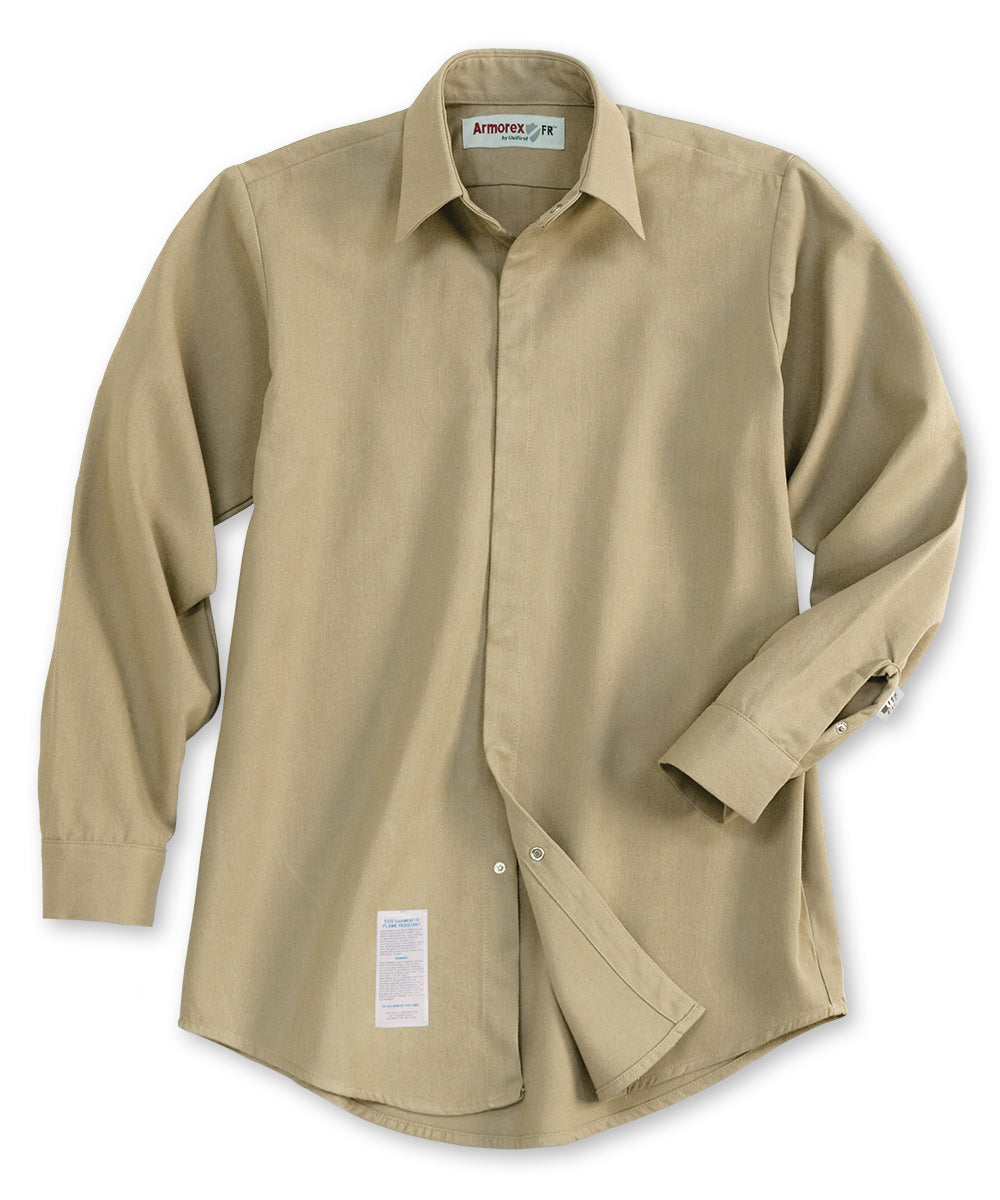 Armorex® COOL Flame Resistant Food Processing Shirts (Khaki) as shown in the UniFirst Uniforms Rental Catalog.