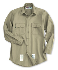 Khaki Armorex FR® Arc Rated Flame Resistant Work Shirts Shown in UniFirst Uniform Rental Service Catalog