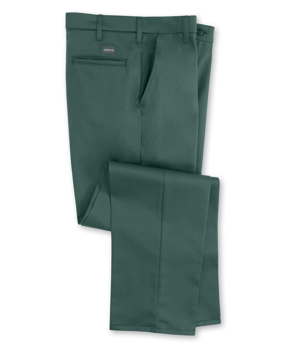 Spruce Green UniFirst® Flat Front 100% Cotton Pants Shown in UniFirst Uniform Rental Service Catalog