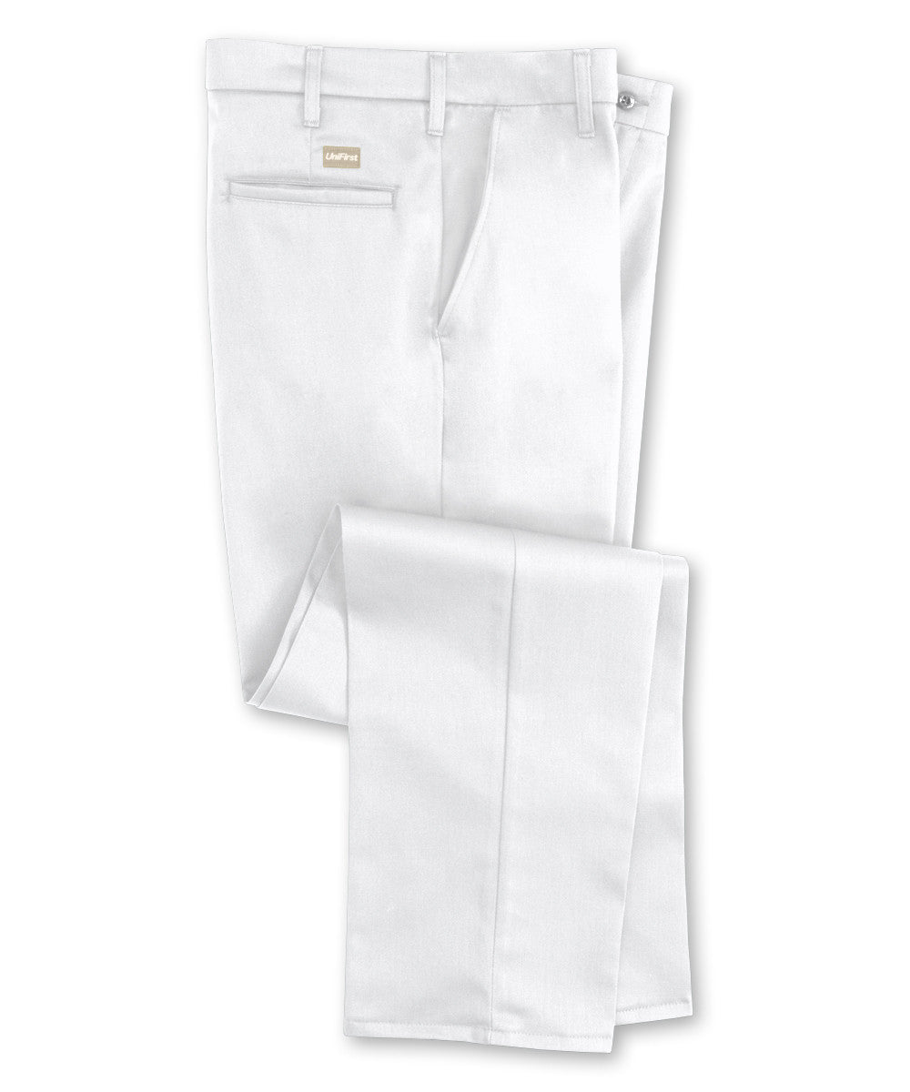 White UniFirst® Flat Front 100% Cotton Pants Shown in UniFirst Uniform Rental Service Catalog