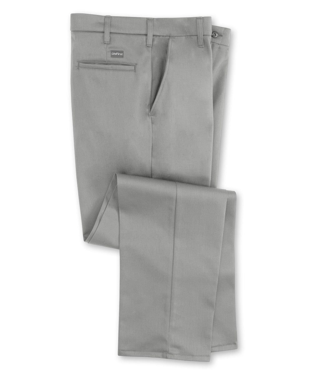 Grey SofTwill® Flat Front Uniform Pants Shown in UniFirst Uniform Rental Service Catalog