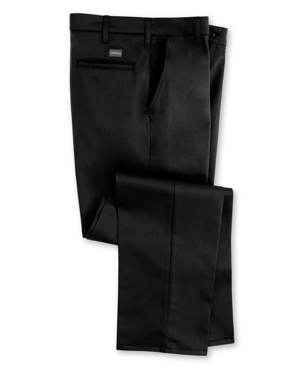 Black SofTwill® Flat Front Uniform Pants Shown in UniFirst Uniform Rental Service Catalog
