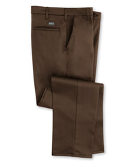 Brown SofTwill® Flat Front Uniform Pants Shown in UniFirst Uniform Rental Service Catalog