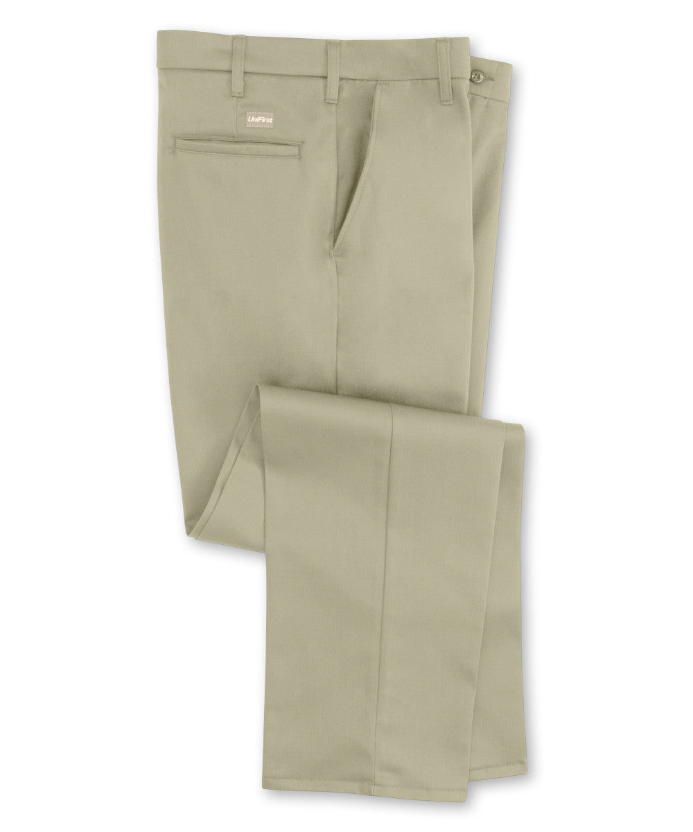 Khaki SofTwill® Flat Front Uniform Pants Shown in UniFirst Uniform Rental Service Catalog