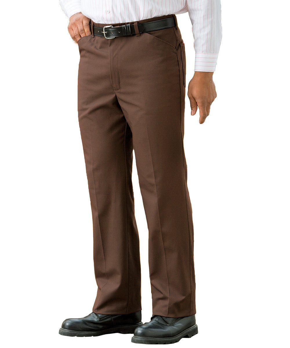 Brown Jean-Style Uniform Pants Shown in UniFirst Uniform Rental Service Catalog