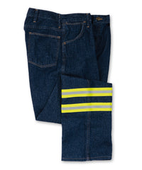 Navy Blue UniFirst® Enhanced Visibility Jeans Shown in UniFirst Uniform Rental Service Catalog