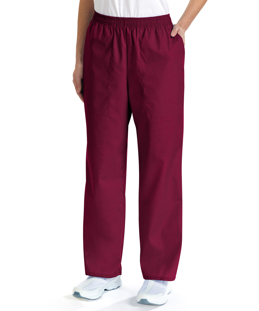 Burgundy Women's Scrub Pants Shown in UniFirst Uniform Rental Service Catalog