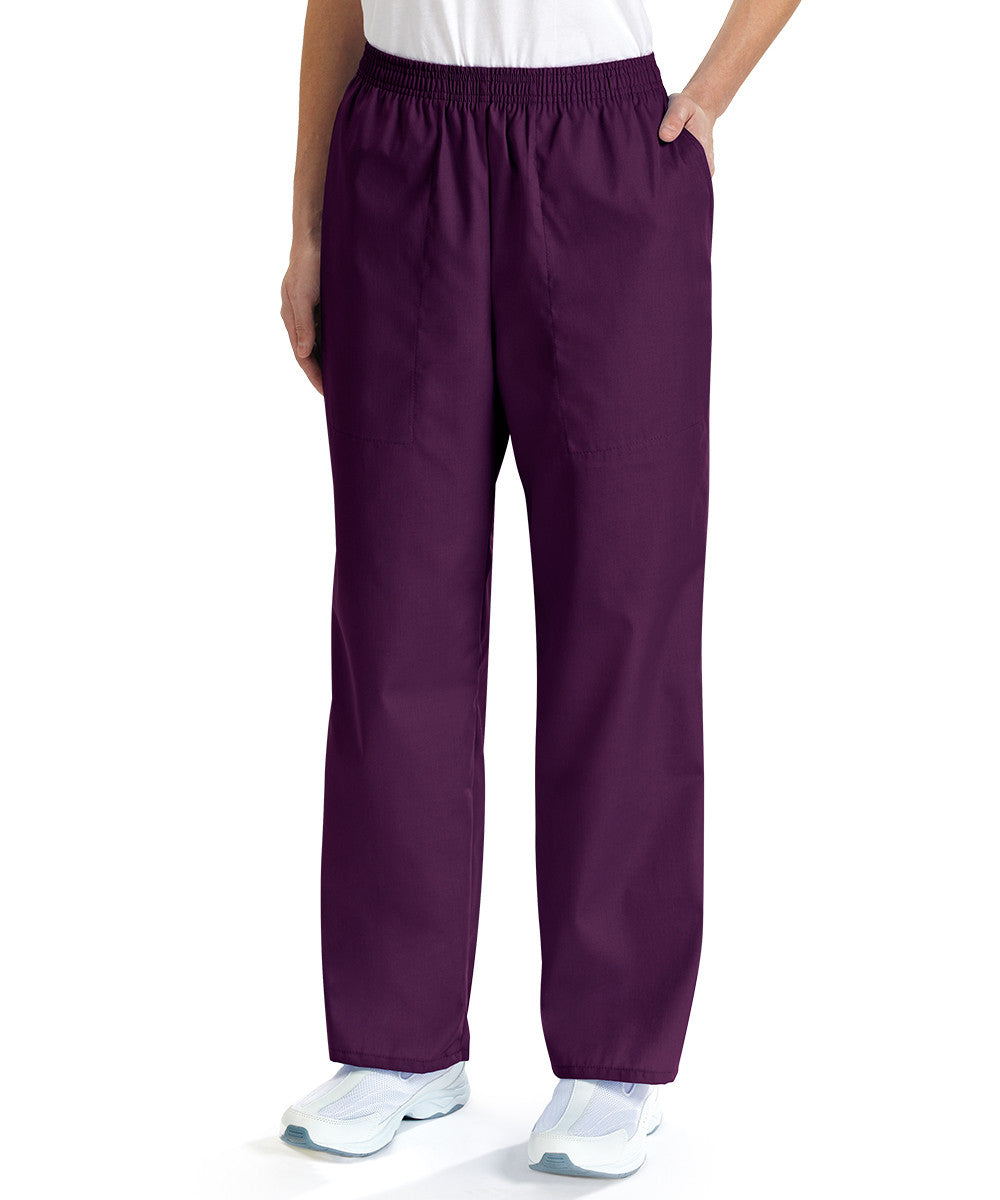 Eggplant Women's Scrub Pants Shown in UniFirst Uniform Rental Service Catalog