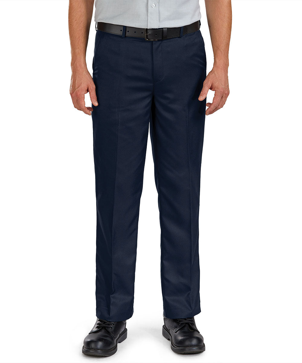 Flat Front Microfiber Dress Pants (Navy) as shown in the Hospitality Collection in the UniFirst Uniforms Rental Catalog.
