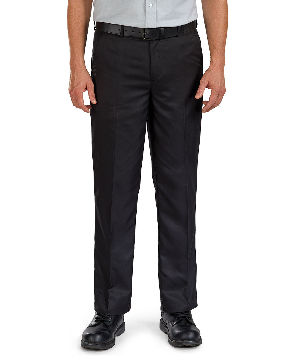 Flat Front Microfiber Dress Pants (Black) as shown in the Hospitality Collection in the UniFirst Uniforms Rental Catalog.