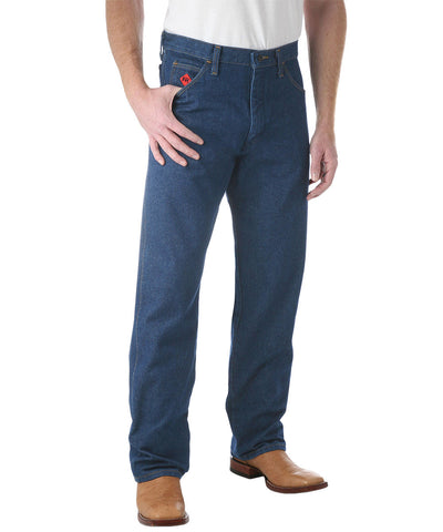 Indigo Denim Wrangler® Arc Rated Flame Resistant Jeans Shown in UniFirst Uniform Rental Service Catalog