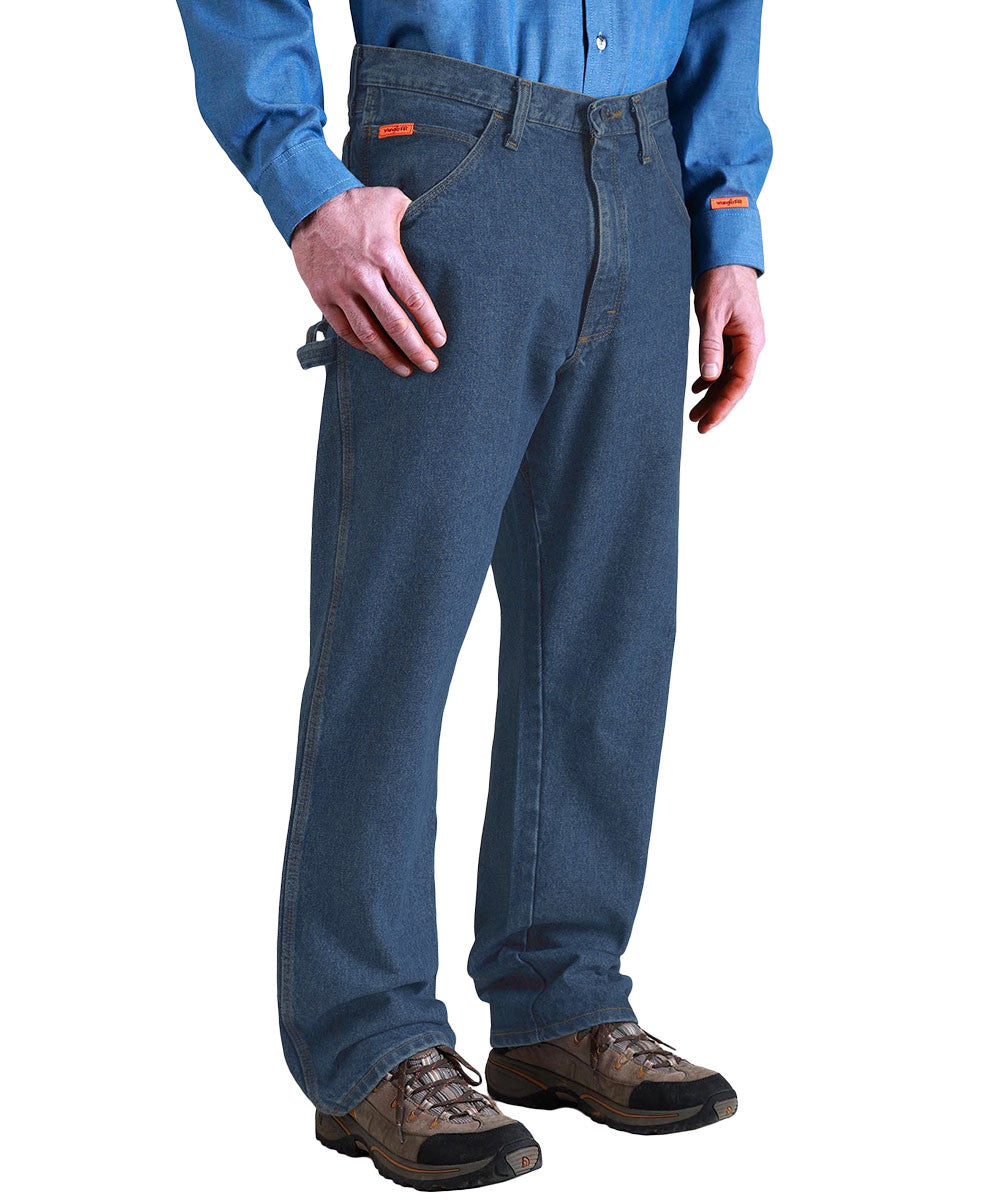 Indigo Denim Wrangler® Arc Rated Flame Resistant Carpenter Jeans  Shown in UniFirst Uniform Rental Service Catalog