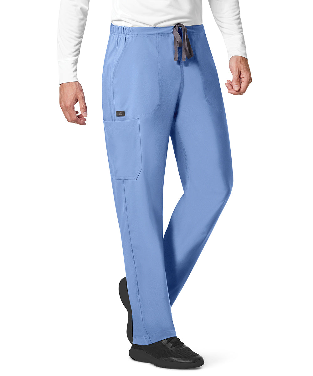 WonderWink INDY™ Unisex Utility Cargo Scrub Pants (Ciel Blue) as shown in the UniFirst Uniform Rental Catalog.