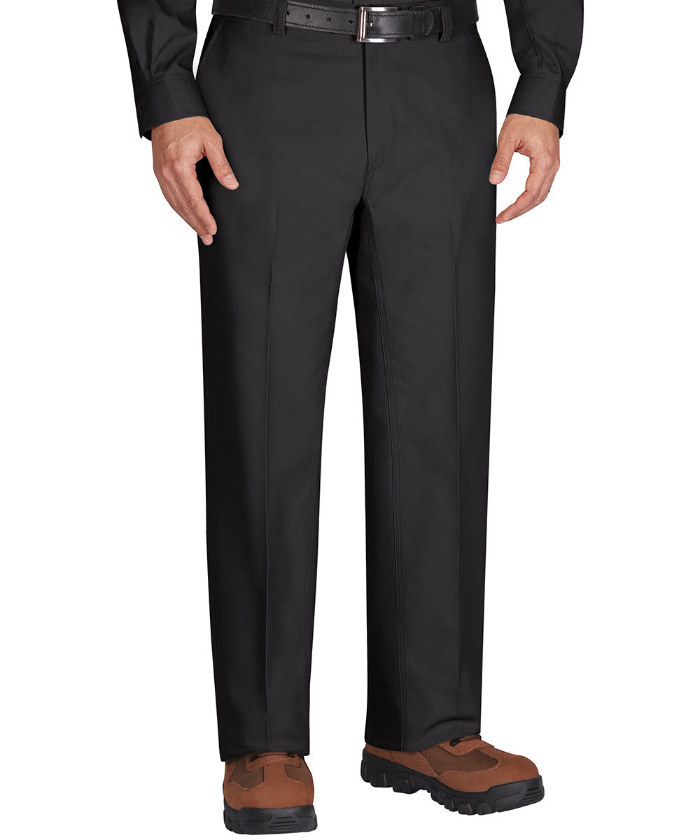 Black Dickies Flat Front Work Pants Shown in UniFirst Uniform Rental Service Catalog