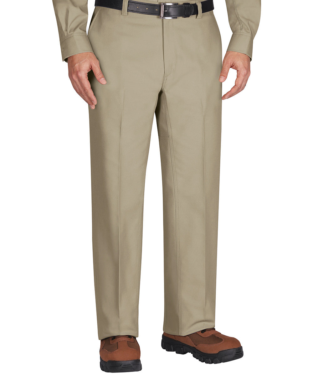 Khaki Wrangler Workwear™ Flat Front Work Pants Shown in UniFirst Uniform Rental Service Catalog