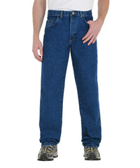 Medium Blue Wrangler® Relaxed Fit Jeans Shown in UniFirst Uniform Rental Service Catalog