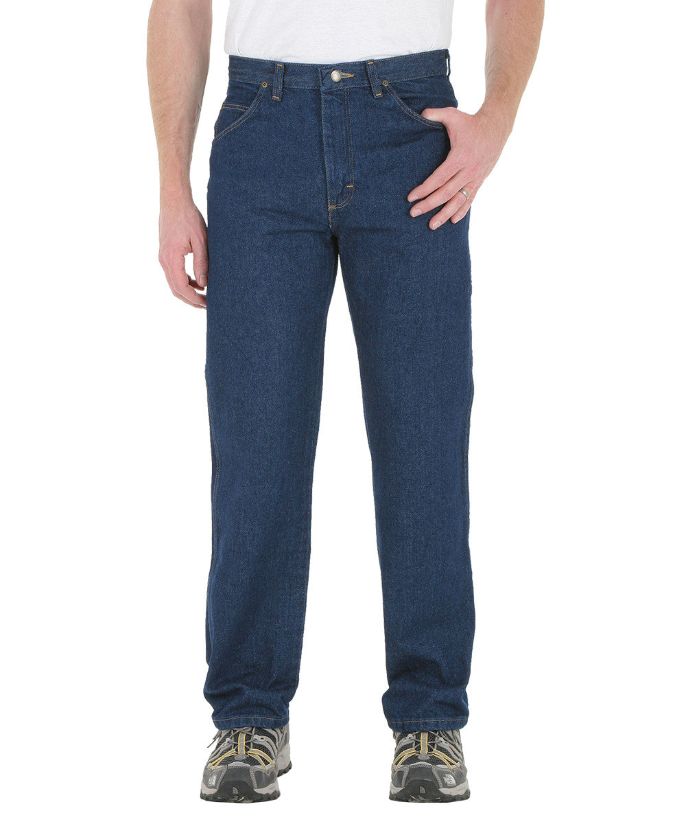 Medium Blue Wrangler® Classic Fit Jeans  Shown in UniFirst Uniform Rental Service Catalog