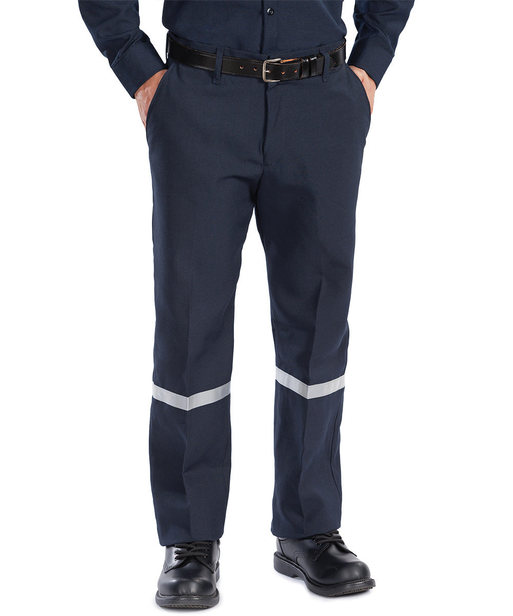 Navy Blue Armorex FR® Arc Rated Flame Resistant Work Pants with Reflective Striping Shown in UniFirst Uniform Rental Service Catalog