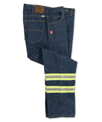 Flame Resistant Cotton Jeans with Reflective Striping (Navy) as shown in the UniFirst Uniform Rental Catalog.