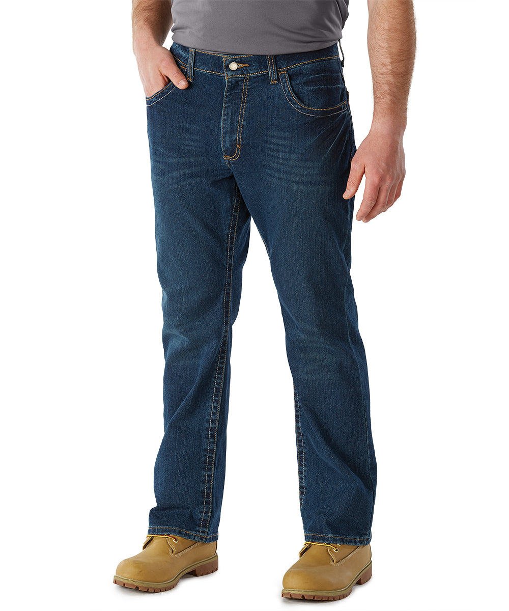 Bulwark® FR Flame Resistant Boot-Cut Jeans with Stretch (Indigo Denim) as shown in the UniFirst Uniform Rental Catalog.