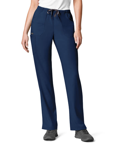 Women's WonderWink INDY™ Utility Cargo Scrub Pants (Navy) as shown in the UniFirst Uniform Rental Catalog.