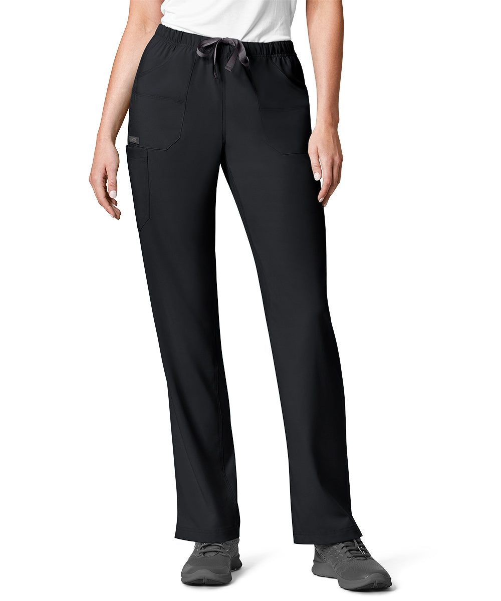 Women's WonderWink INDY™ Utility Cargo Scrub Pants (Black) as shown in the UniFirst Uniform Rental Catalog.