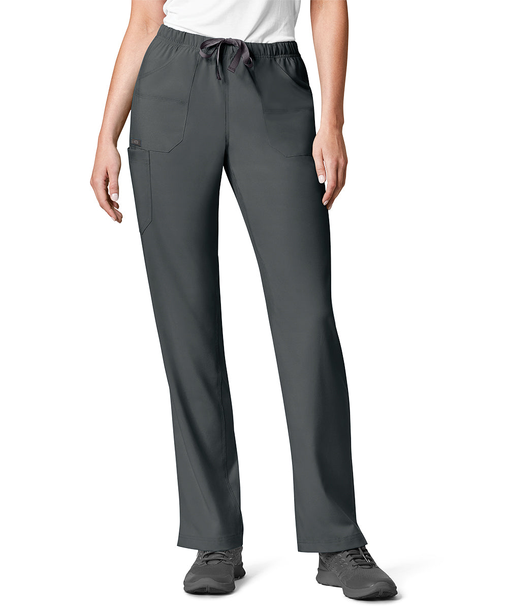 Women's WonderWink INDY™ Utility Cargo Scrub Pants (Pewter) as shown in the UniFirst Uniform Rental Catalog.