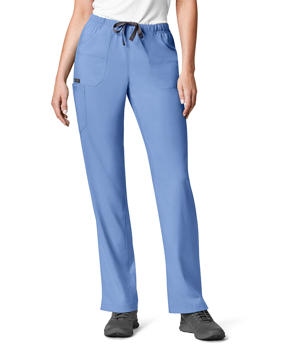 Women's WonderWink INDY™ Utility Cargo Scrub Pants (Ciel Blue) as shown in the UniFirst Uniform Rental Catalog.