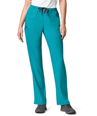 Women's WonderWink INDY™ Utility Cargo Scrub Pants (Teal) as shown in the UniFirst Uniform Rental Catalog.