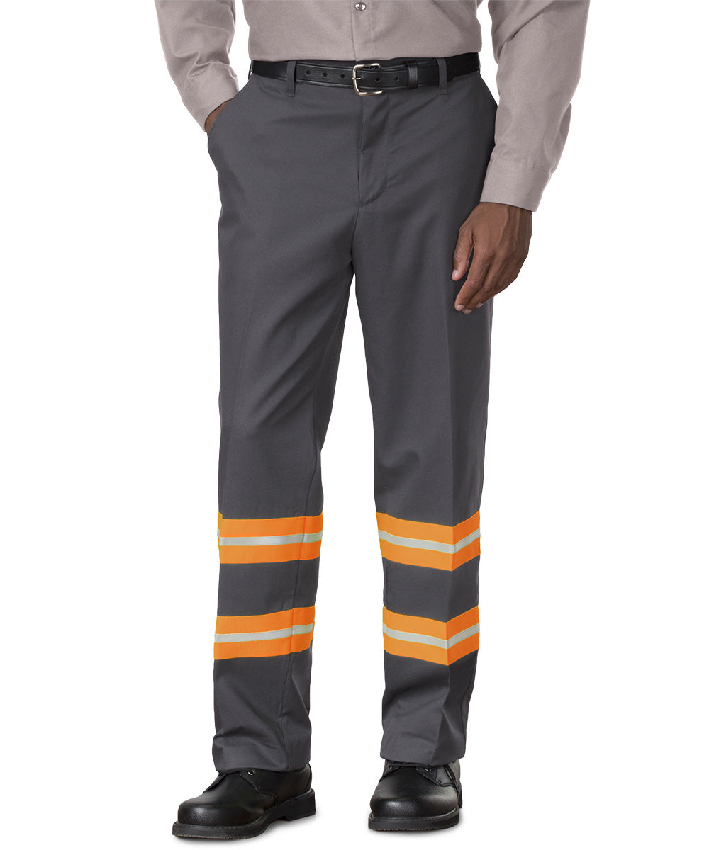 Charcoal/Orange SofTwill® Enhanced Visibility Work Pants Shown in UniFirst Uniform Rental Service Catalog