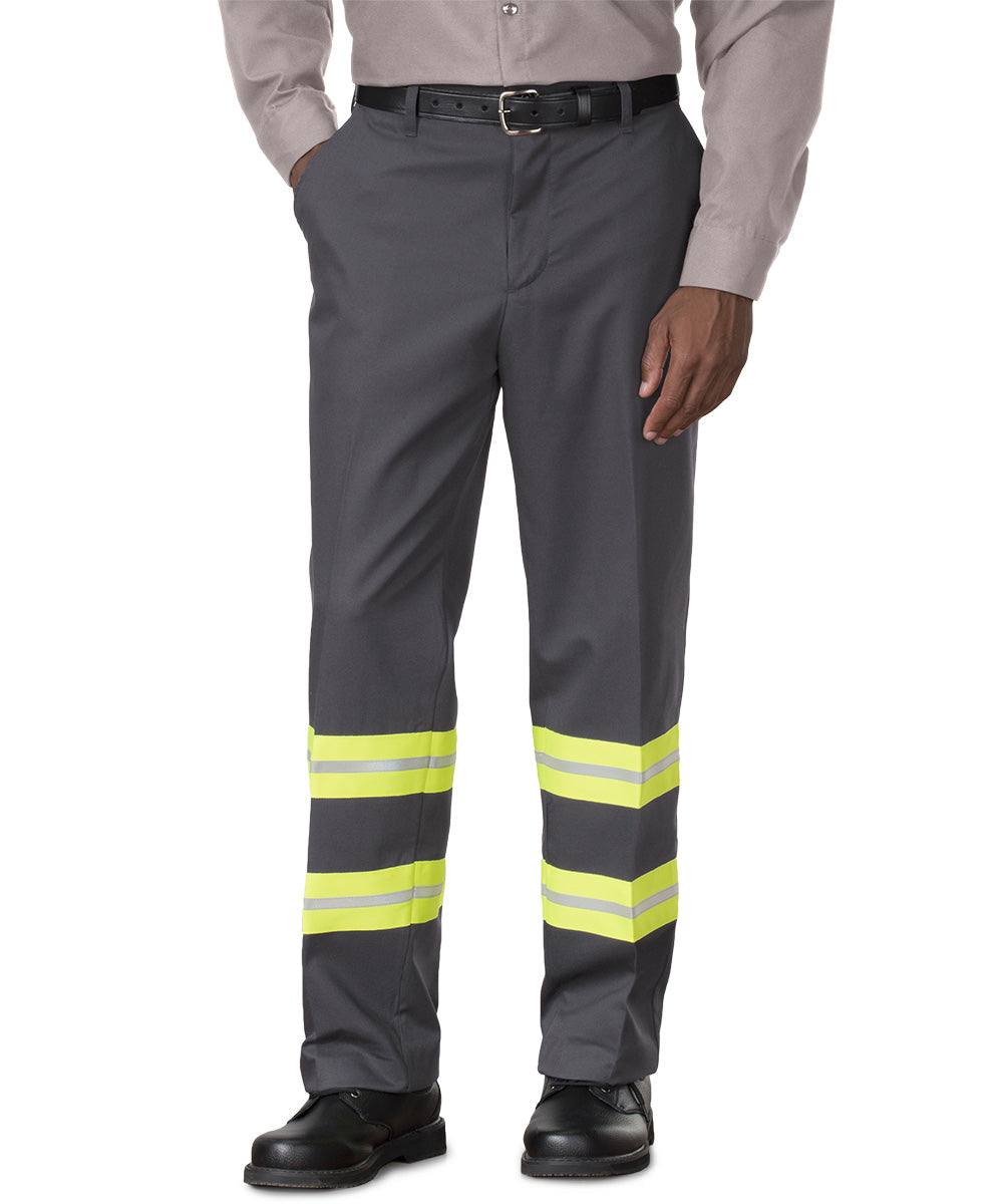 Charcoal/Yellow SofTwill® Enhanced Visibility Work Pants Shown in UniFirst Uniform Rental Service Catalog